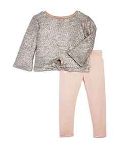 Splendid - Girls' Metallic Knit Top & Solid Leggings Set - Little Kid